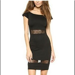 Ronny Kobo black sheer polka dot bodycon dress